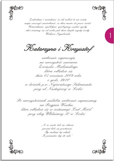 Projekty Zaproszeń Fiocco